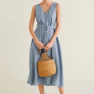 Mango summer Linen-blend shirt dress